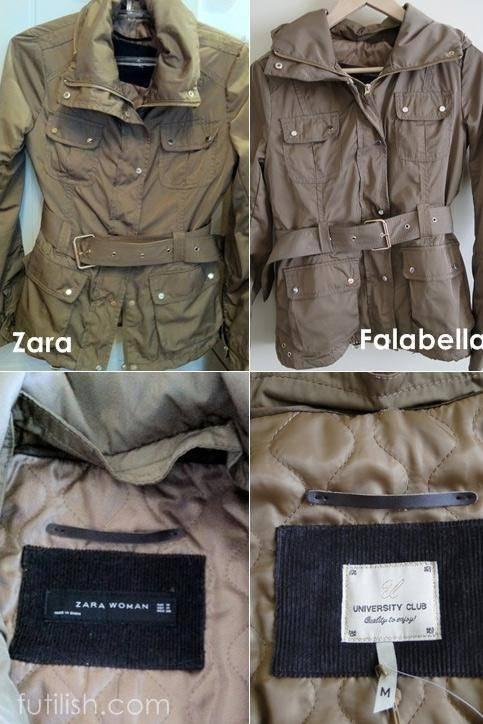 Jaqueta da Zara e da Fallabela: mesmo produto, preços diferentes