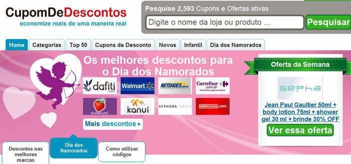 7c4331231b38d Cupom de Descontos  economize no presente de Dia dos Namorados