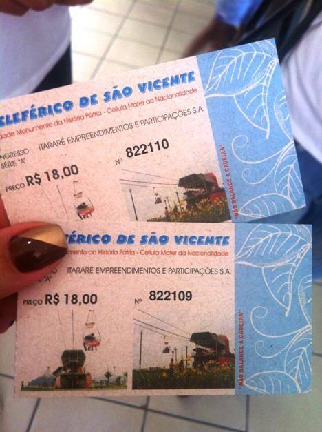 bilhetes teleférico de São Vicente