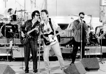 Ron Tutt, Roy Orbison, Bruce Springsteen and Elvis Costello Roy Orbison and Friends: A Black and White Night (Cinemax Sessions Special) Directed by Tony Mitchell USA - 03.01.88  Supplied by WENN  This is a PR photo. WENN does not claim any Copyright or License in the attached material. Fees charged by WENN are for WENN's services only, and do not, nor are they intended to, convey to the user any ownership of Copyright or License in the material. By publishing this material, the user expressly agrees to indemnify and to hold WENN harmless from any claims, demands, or causes of action arising out of or connected in any way with user's publication of the material.