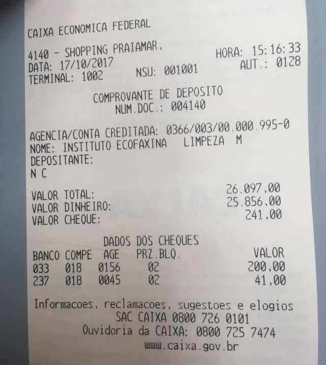Depósito Ecofaxina - Comprovante