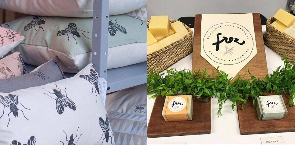 Almofadas em estamparia manual da Cisco; e sabonetes artesanais da Frez