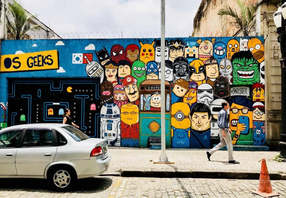 mural-geek-centro-de-santos