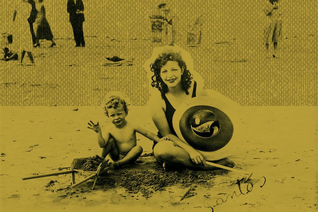 Rudá e Pagu na praia de Santos