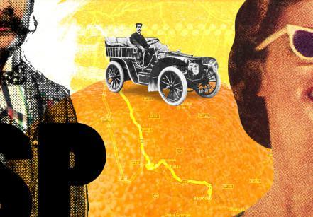 Montagem gráfica sobre a viagem de 110 anos entre São Paulo e Santos