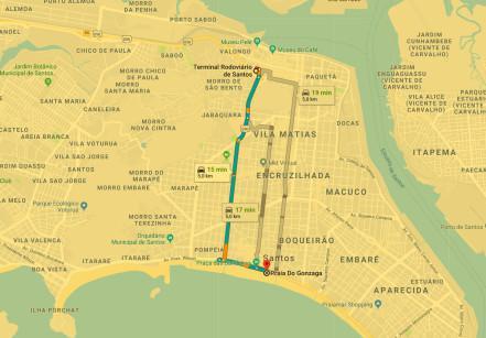 Caminho da rodoviária de Santos até o Gonzaga