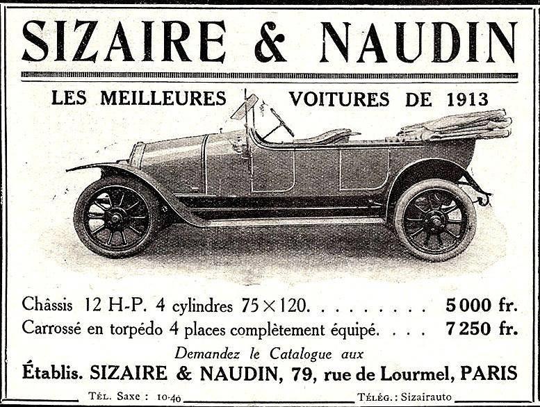 Anúncio da marca parisiense Sizare et Naudin