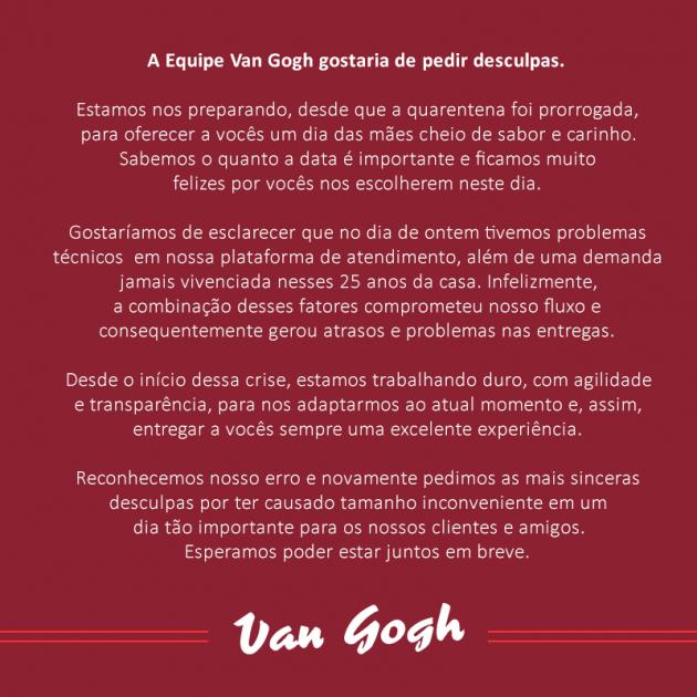 Nota de esclarecimento do Van Gogh, tradicional restaurante em Santos