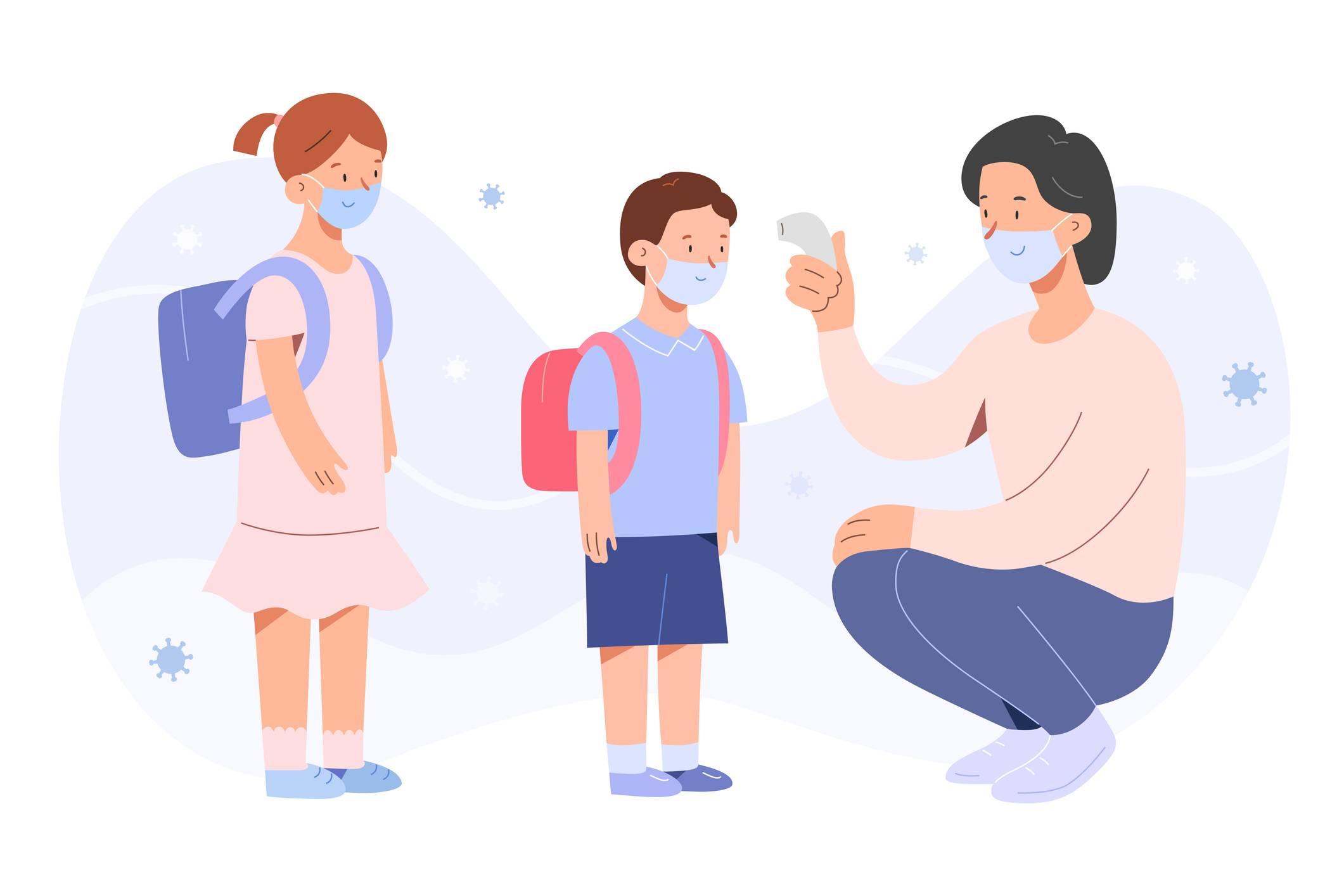 www.juicysantos.com.br - professora medindo temperatura de crianças no retorno das aulas presenciais nas escolas particulares de santos