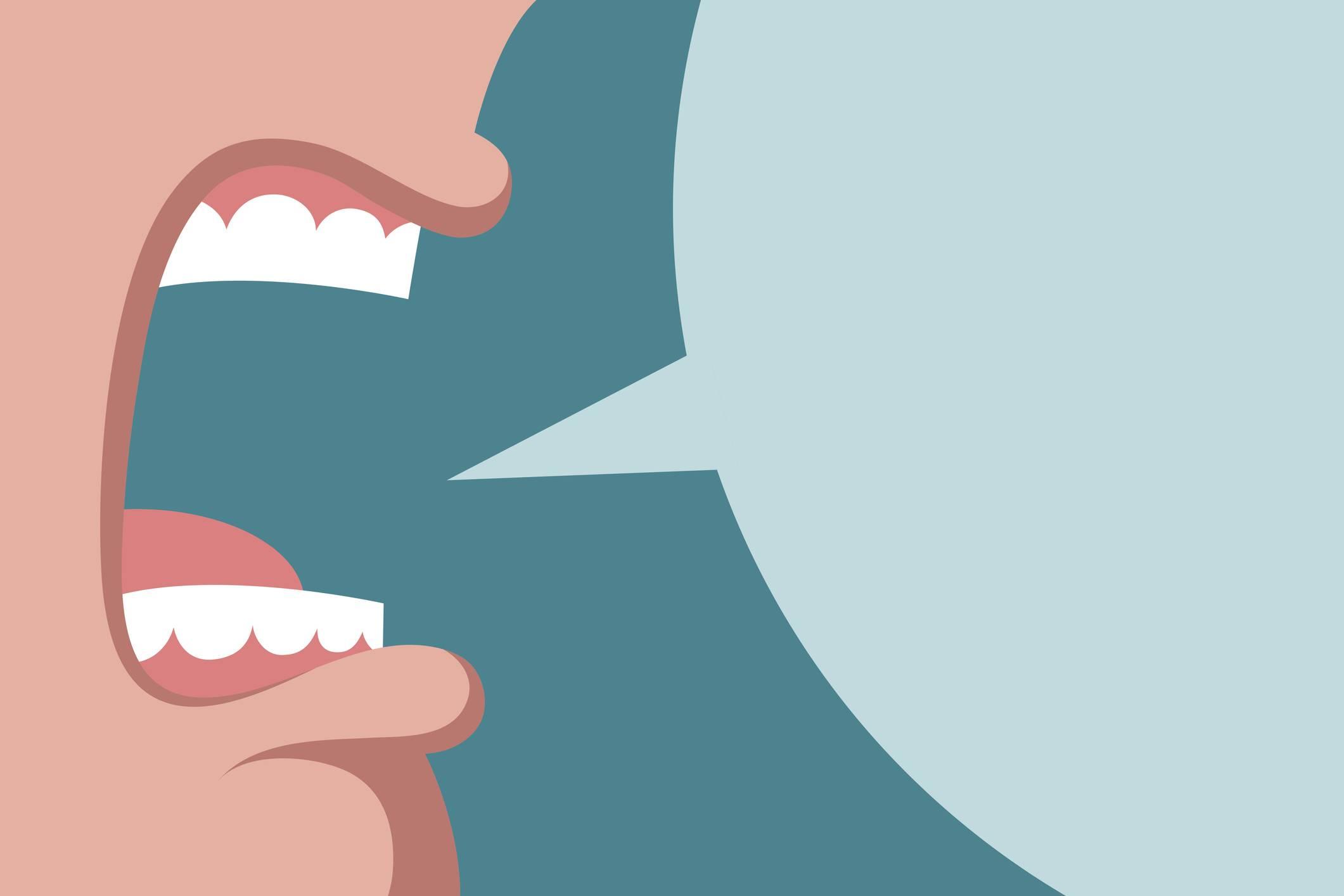 www.juicysantos.com.br - morador do condomínio xingou funcionária e agora? - ilustração de boca xingando